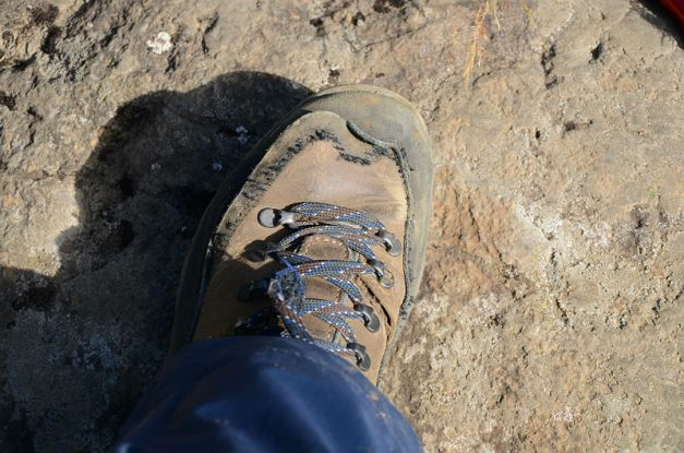 Torn hiking shoe