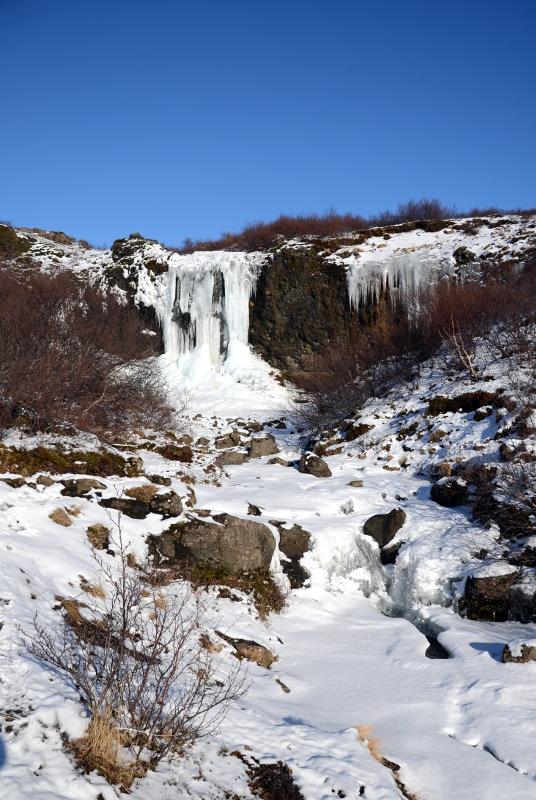 Small frozen waterfall, Iceland